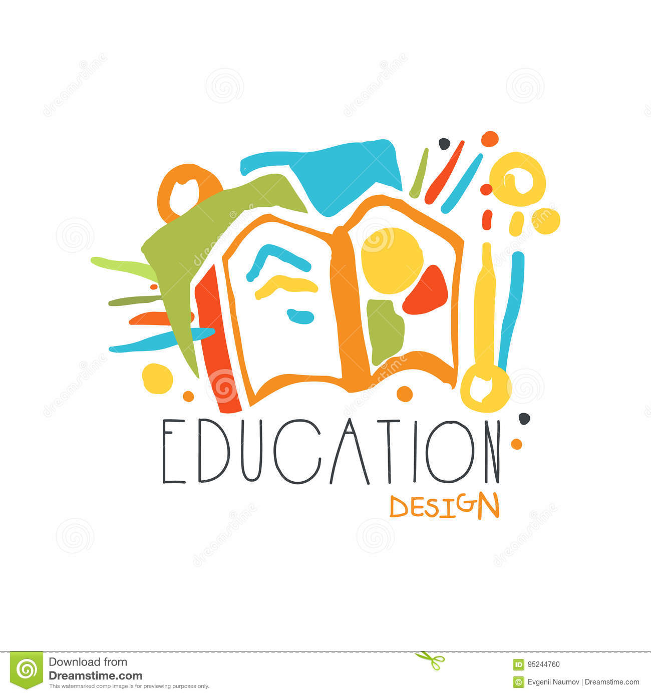 Education label design, back to school logo graphic template
