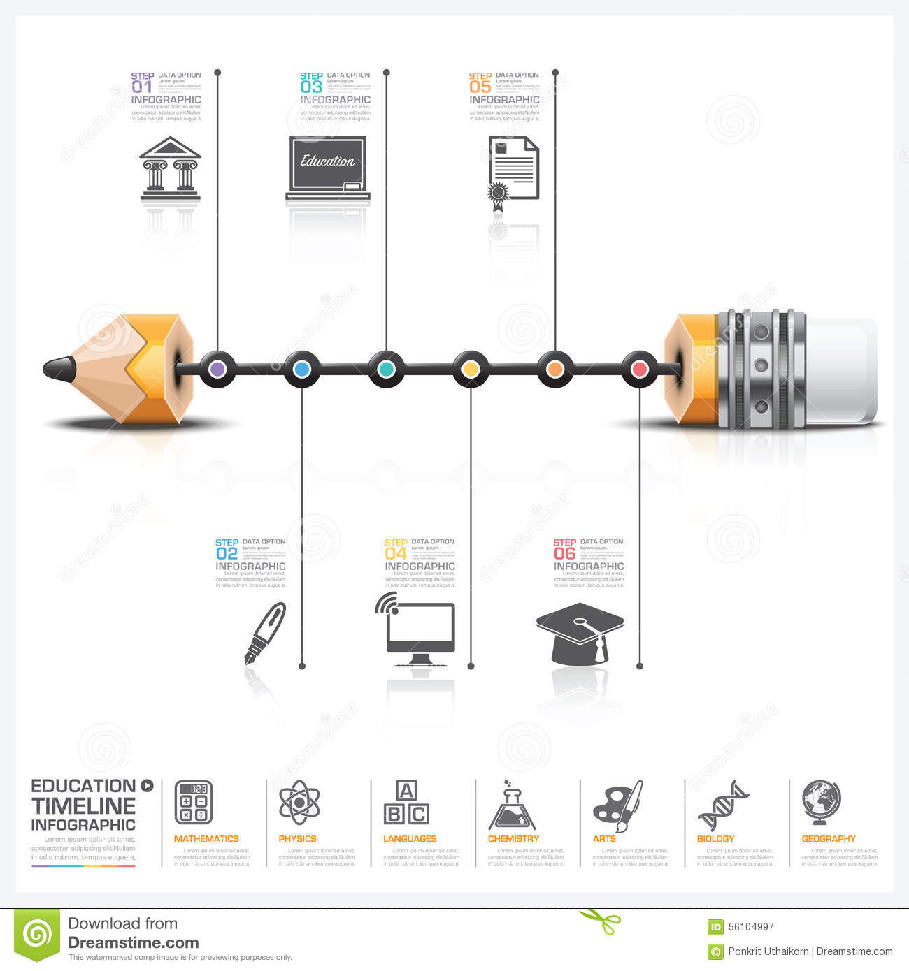 Education and learning with pencil lead timeline infographic dia education and learning with pencil lead timeline infographic dia royalty free vector ccuart Images