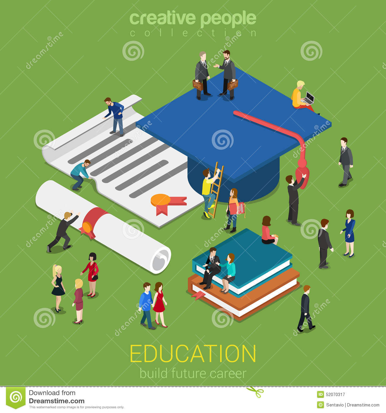 Education Micro People Flat 3d Web Isometric Infographic ...