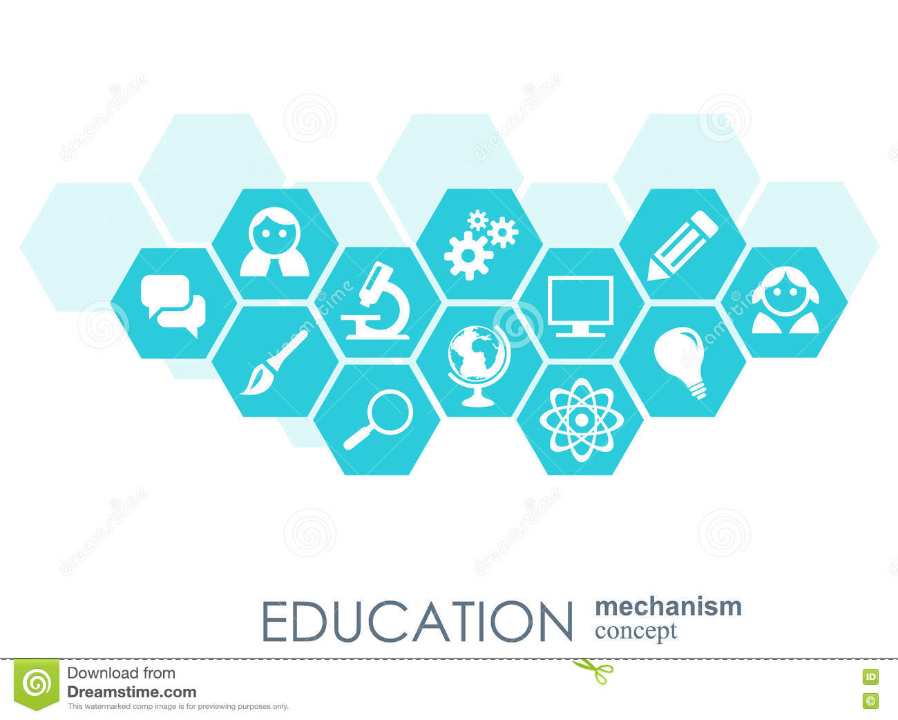 Education network hexagon abstract background with lines connected symbols for education network hexagon abstract background with lines polygons and integrate flat icons biocorpaavc Gallery
