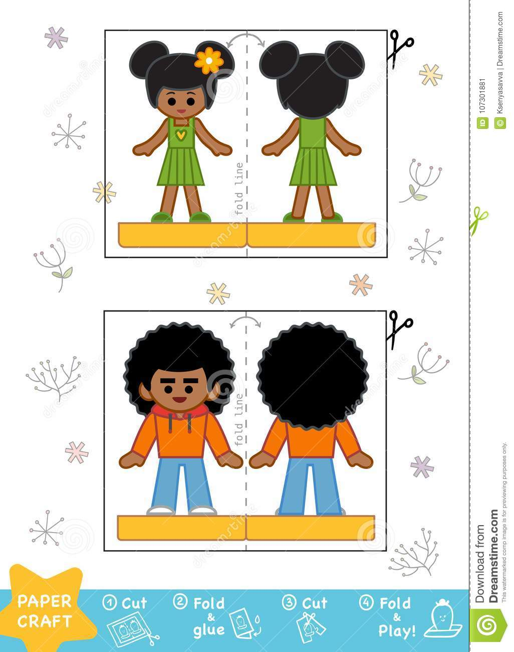 Education Paper Crafts For Children Boy And Girl Stock Vector