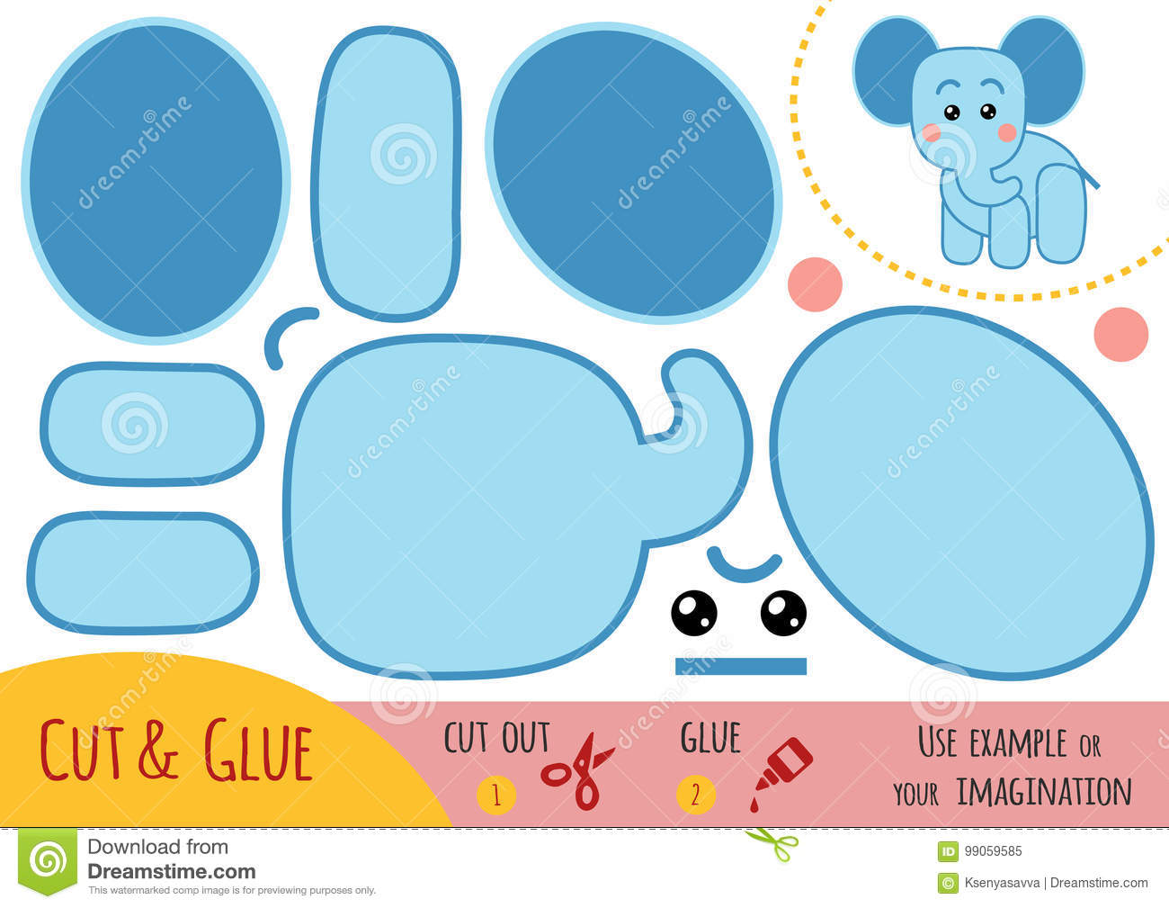 Education paper game for children, Elephant