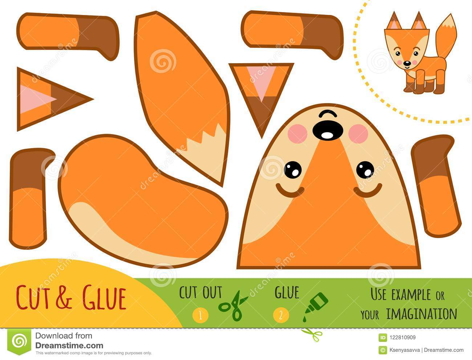 Education paper game for children, Fox