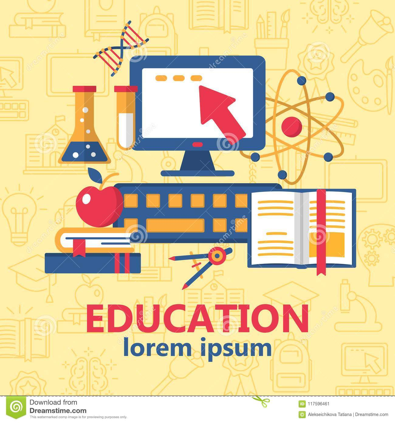 Education poster with various school supplies