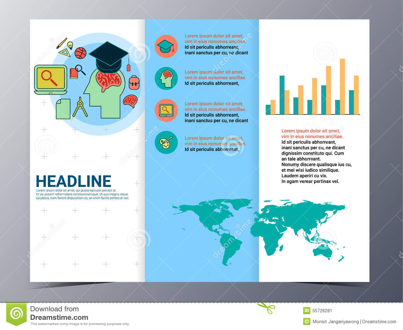 Education and school brochure design template vector flyer for Tri fold school brochure template