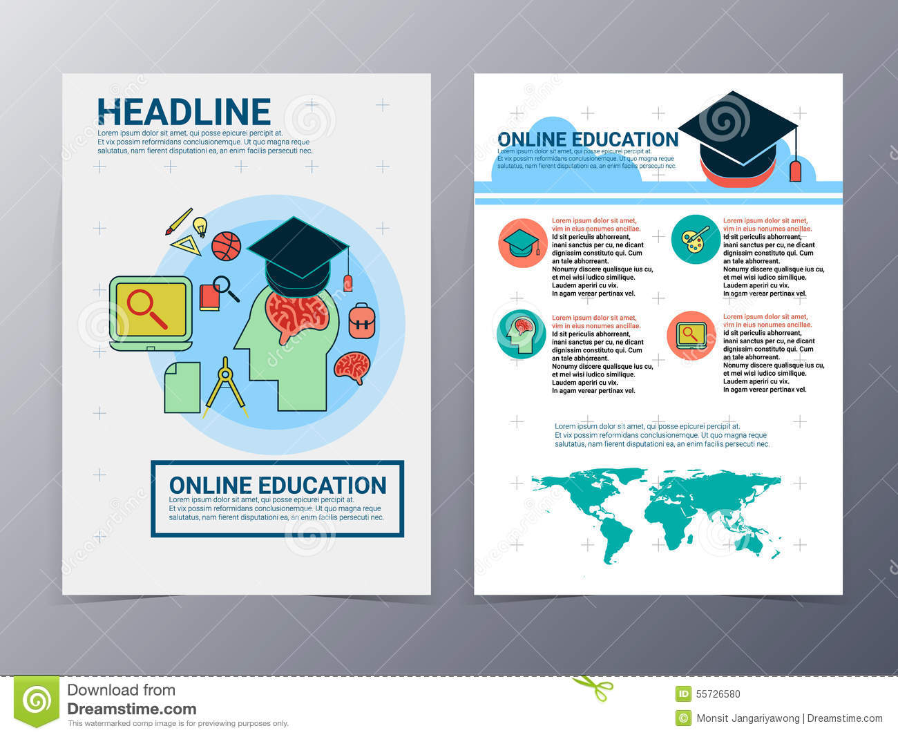 Education and school brochure design template vector flyer for Brochure design templates for education