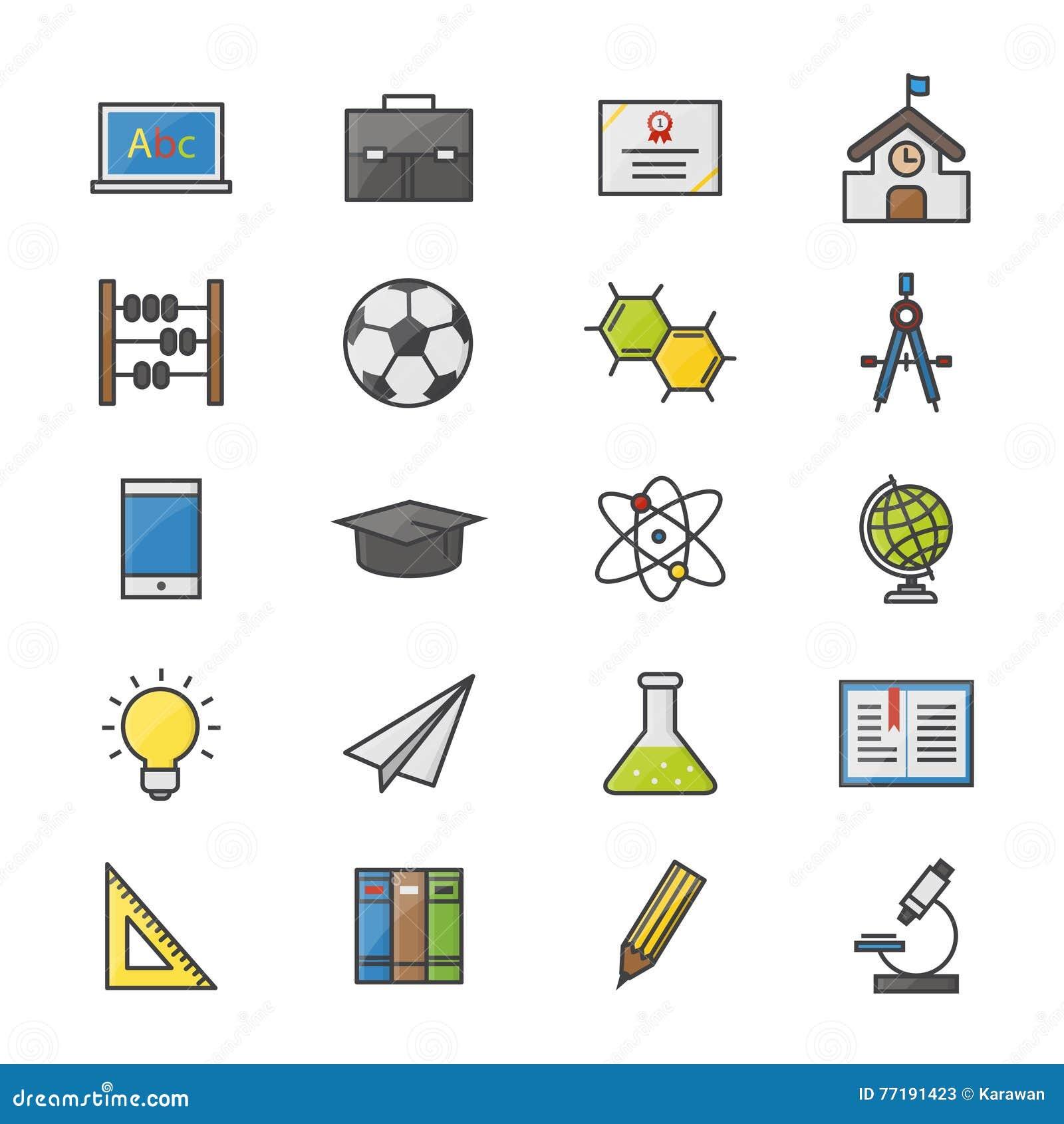 School And Education Flat Icons. Vector Set. Cartoon ...