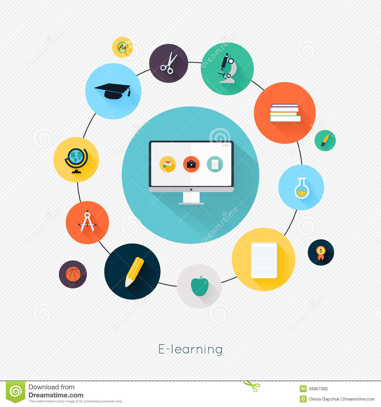 E learning poster designs - Education School University E Learning Flat Poster With Monitor Stock Vector