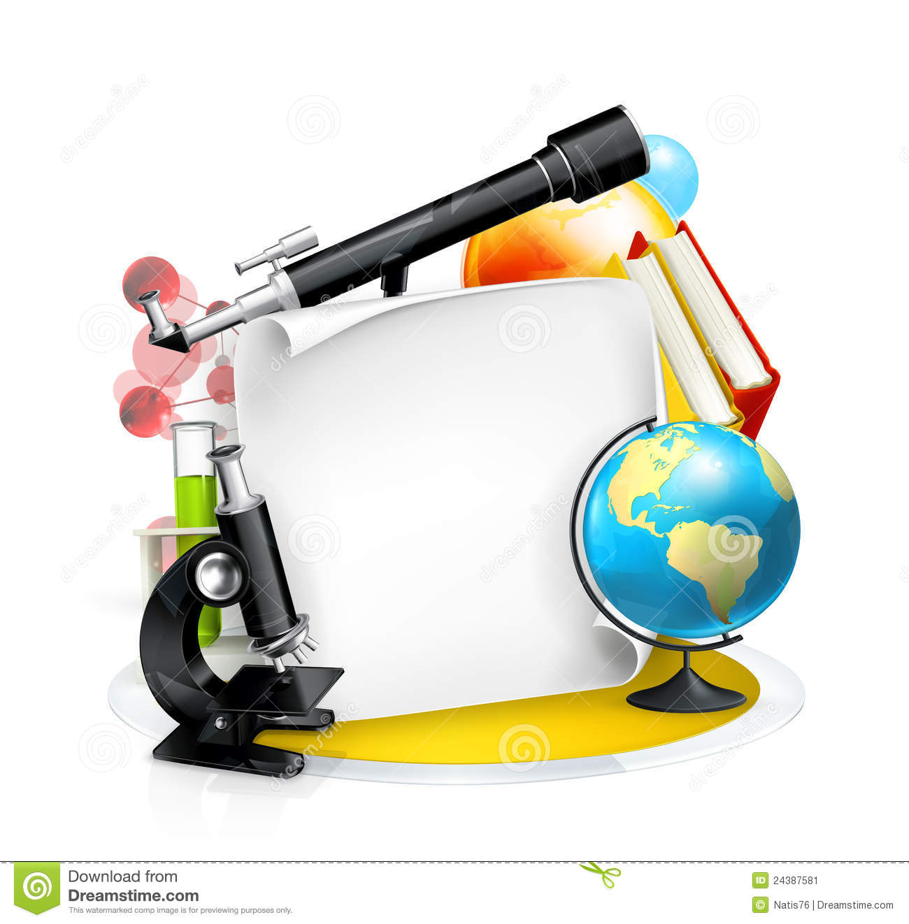 Education and Science frame, computer illustration on white background ...
