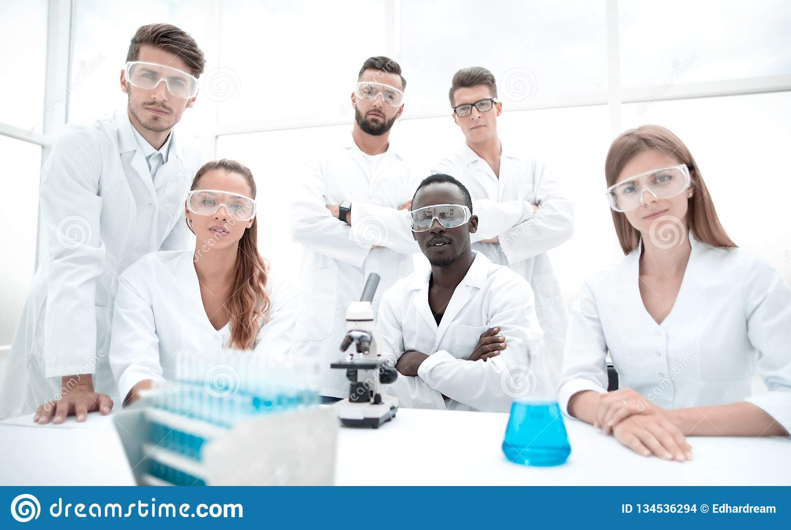Group of young successful scientists posing for camera. Education science research pharmacy chemistry teamwork concept stock images