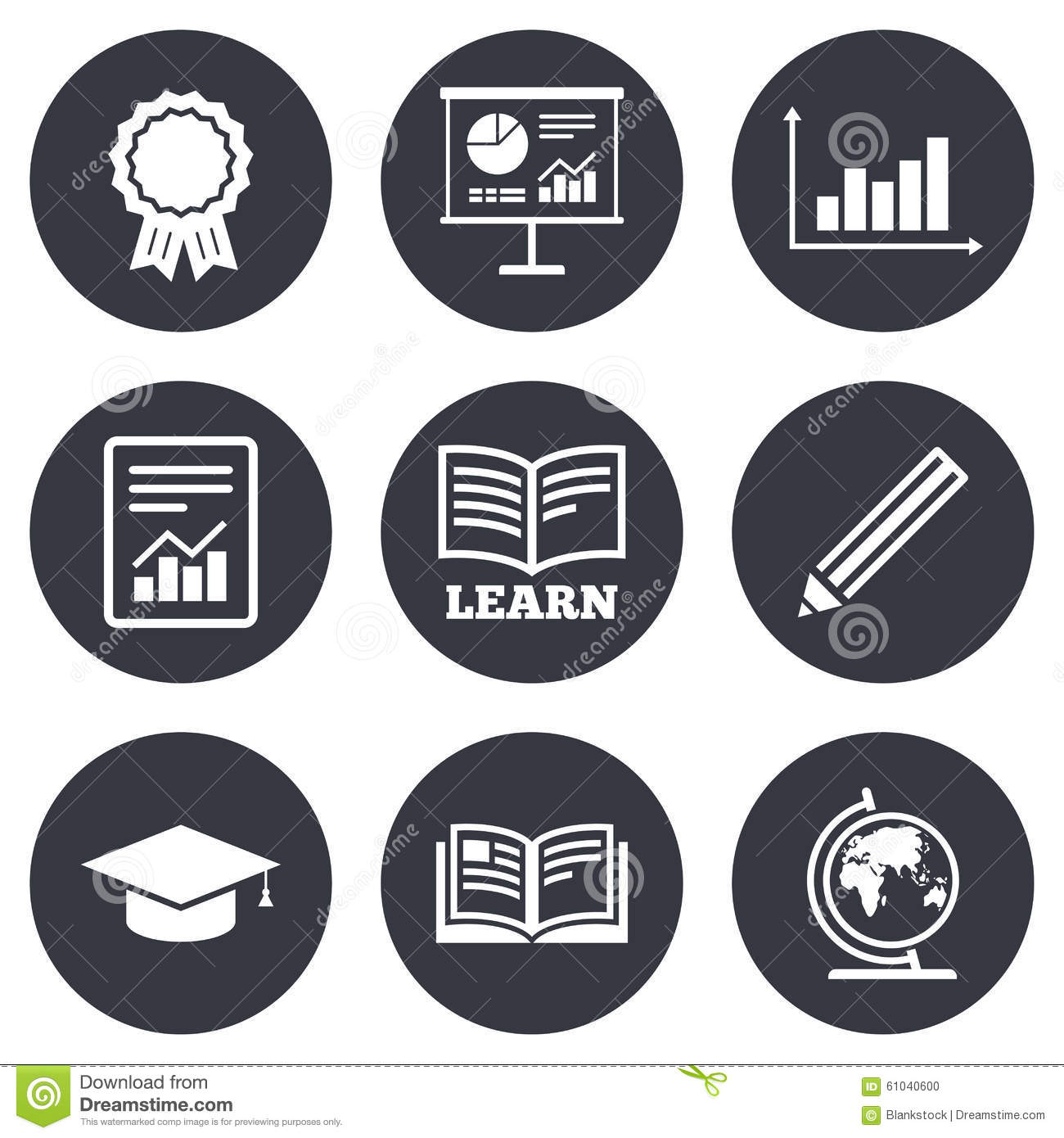Education And Study Icon Presentation Signs Stock Vector