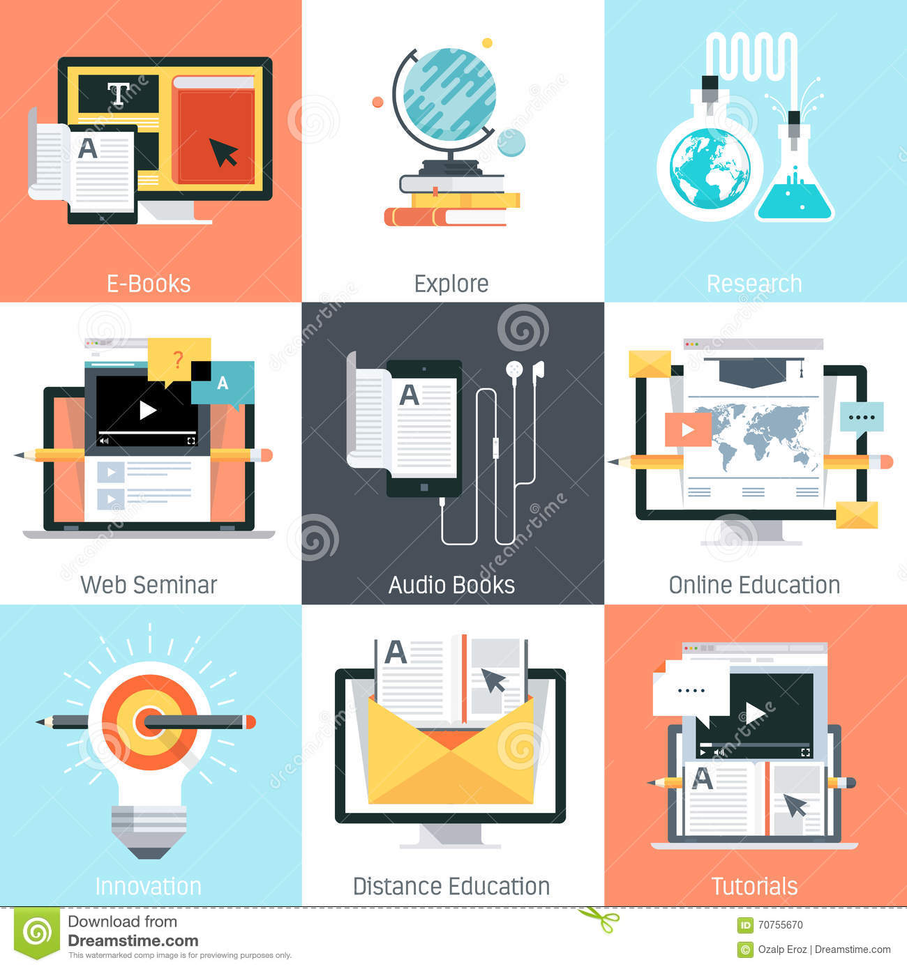 Education theme, flat style, colorful, icon set