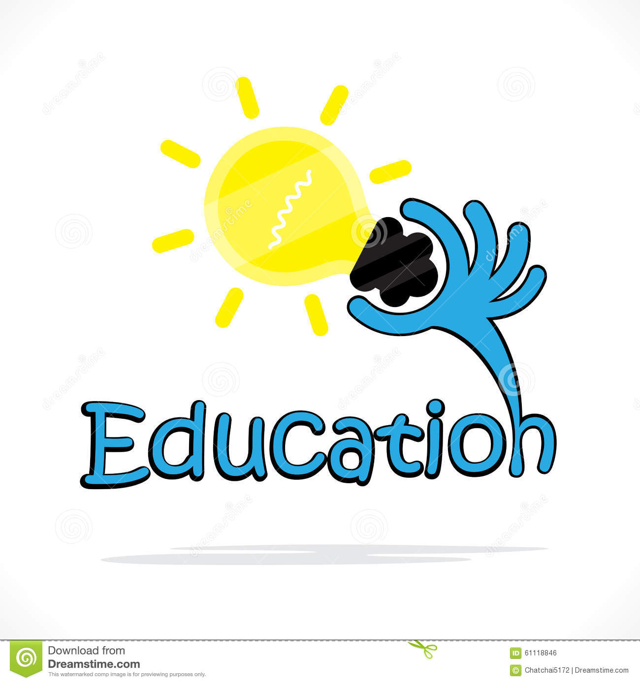 Education Title Texts And Hand Shape With Creative Light