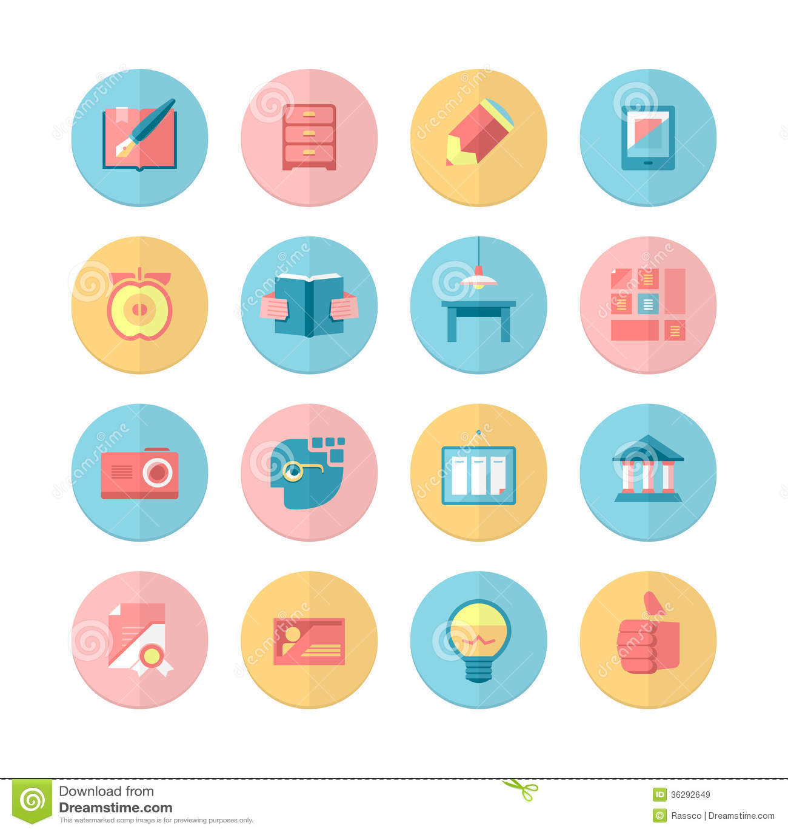 Education And Training 16 Flat Icons Set Royalty Free