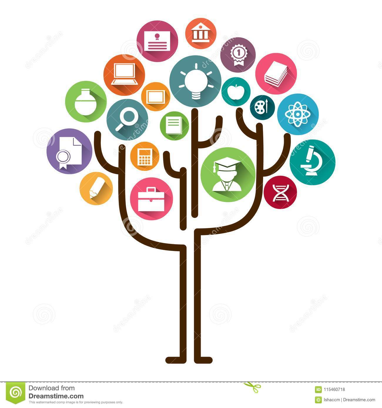 Education tree concept learning.Education icons and tree vector illustration