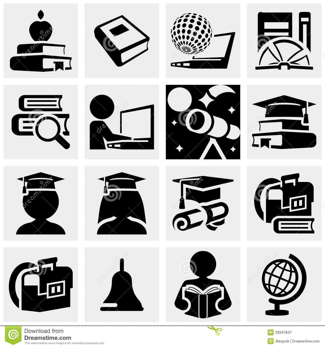 Education Vector Icons Set On Gray. Royalty Free Stock ...