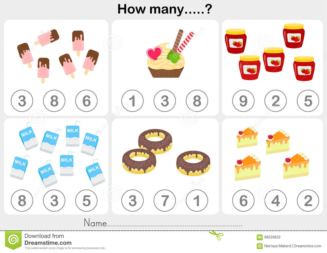 Education Worksheet - Counting Object For Kids Stock ...