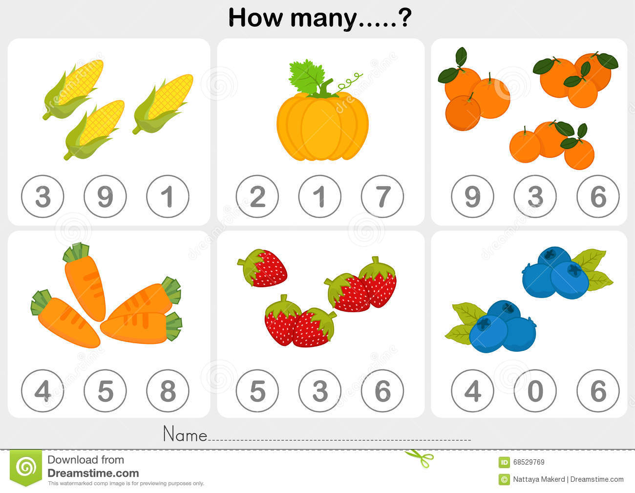 Education Worksheet - Counting Object For Kids Stock Vector ...