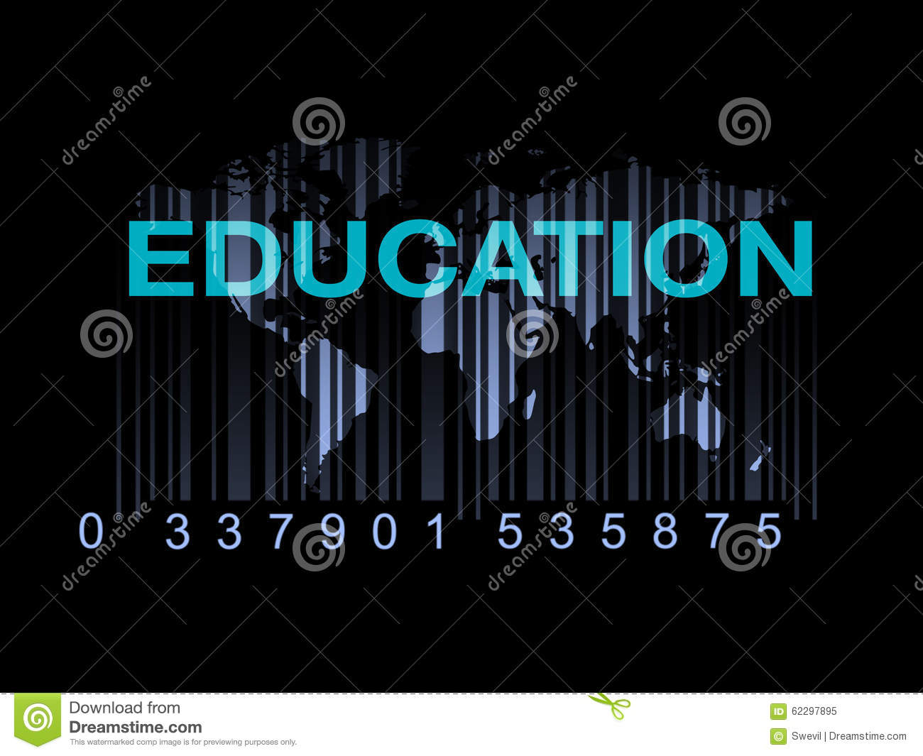 Education on the world map with barcode (quality of education)