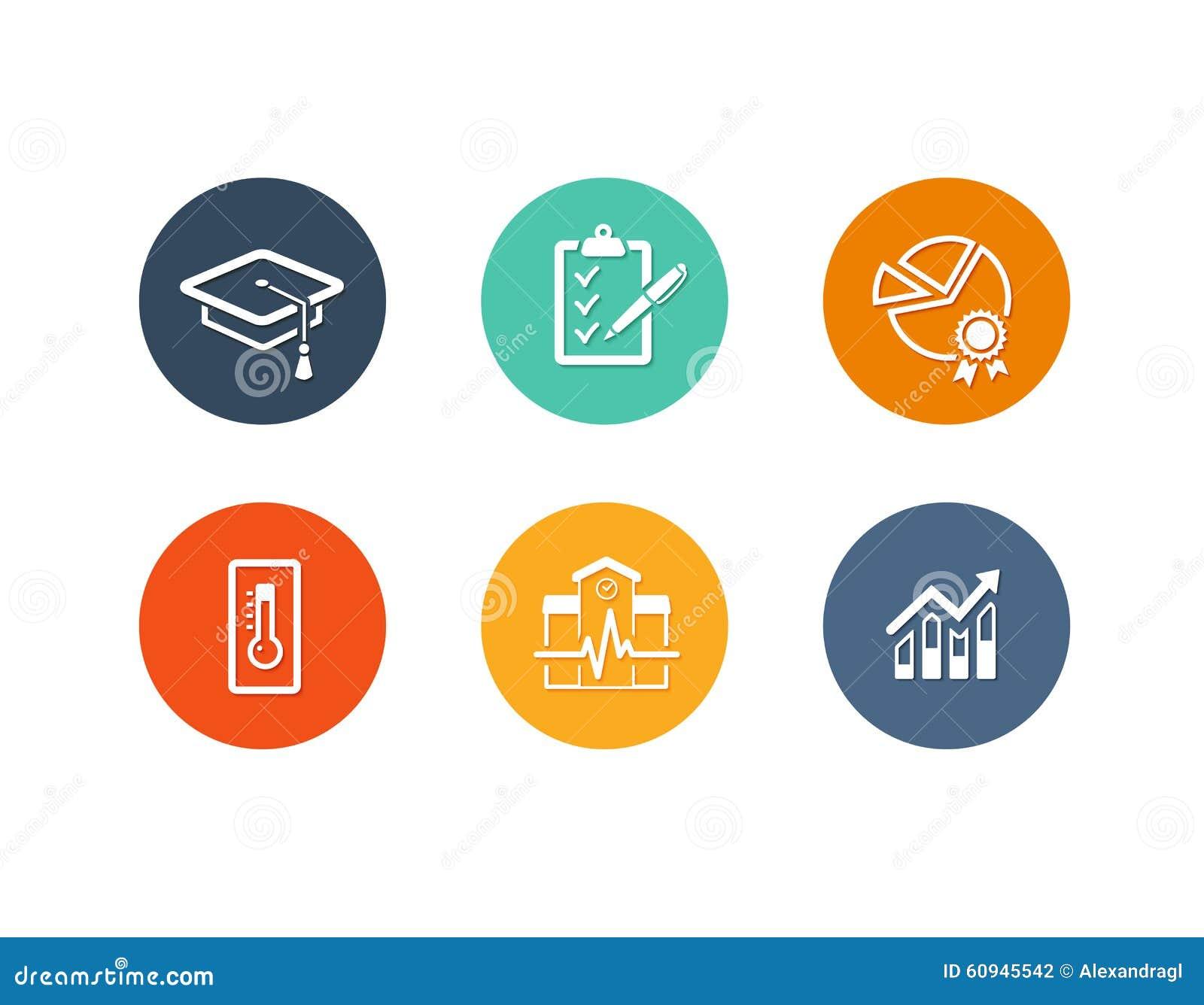 Educational Academic Icons Flat Design Stock Vector