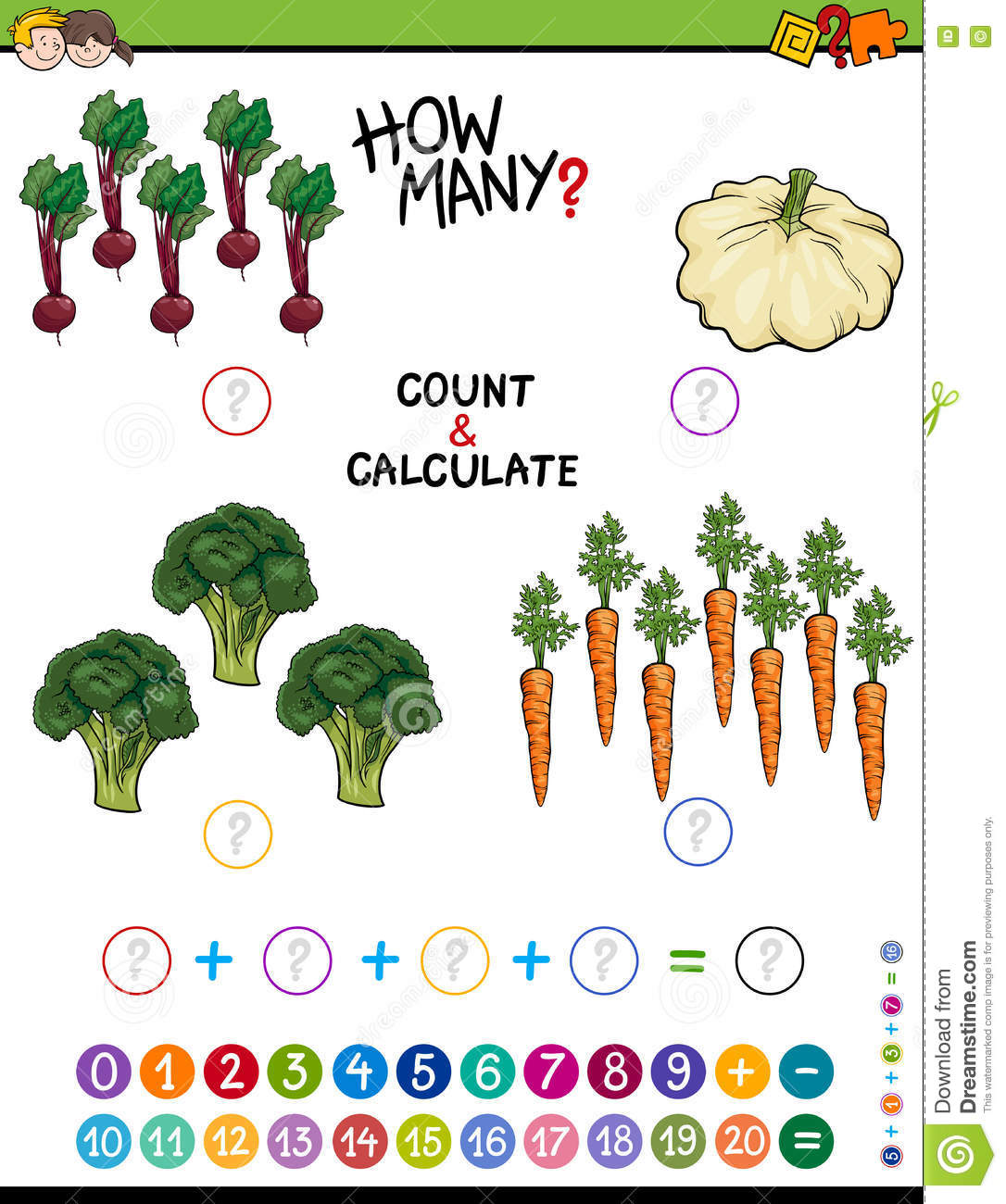 Educational Addition Worksheet For Kids Stock Vector - Illustration ...