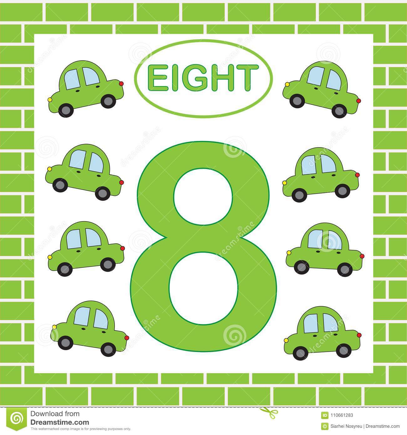 Educational Card Number 8 Eight With Cars. Learning Numbers ...