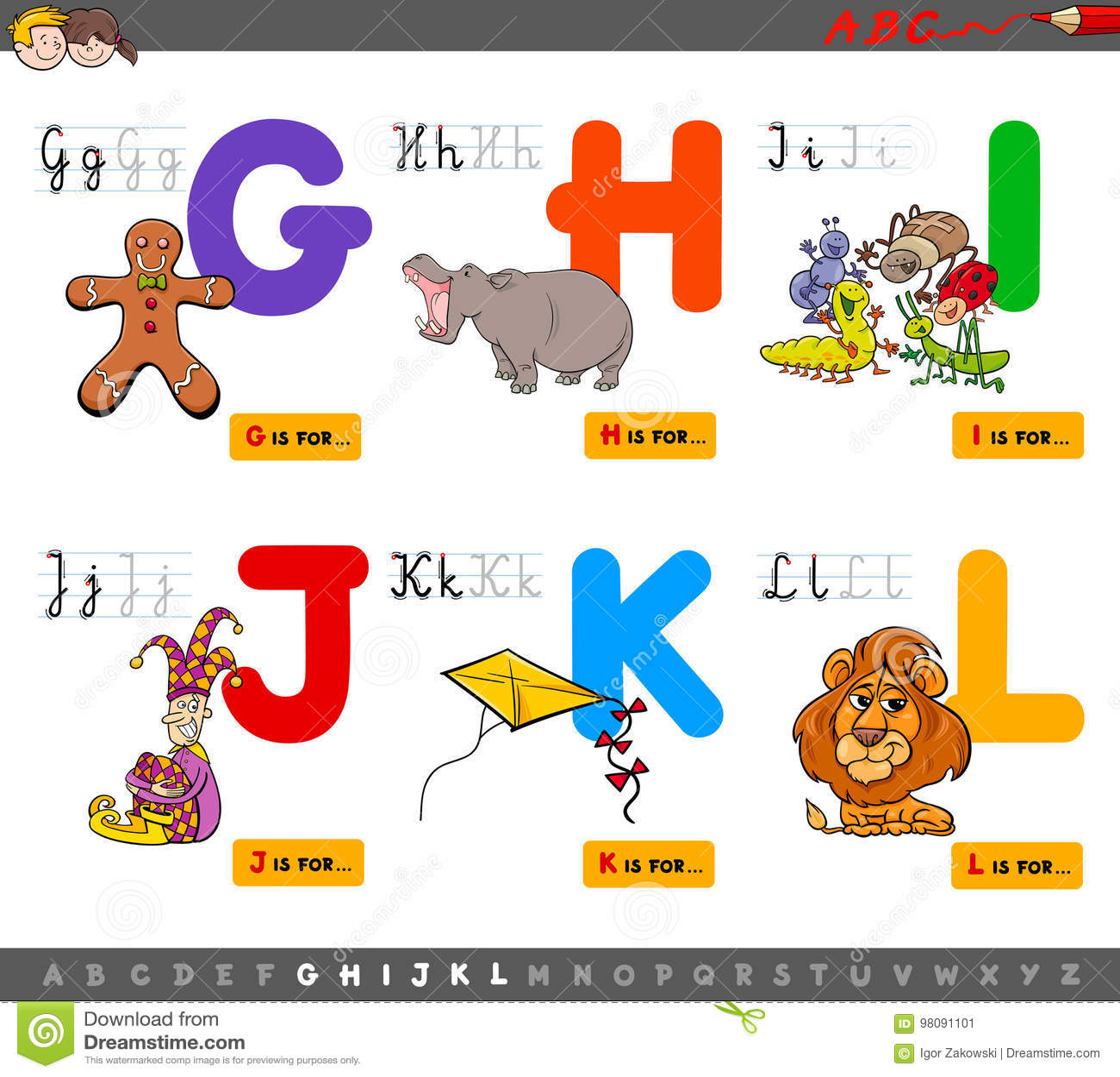 Educational Cartoon Alphabet For Kids Stock Vector Illustration of