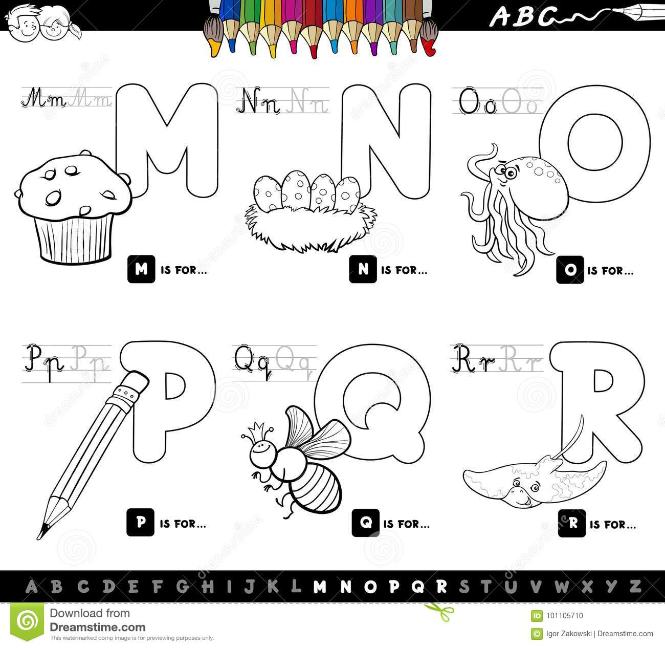 Educational Cartoon Alphabet Letters Color Book Stock Vector