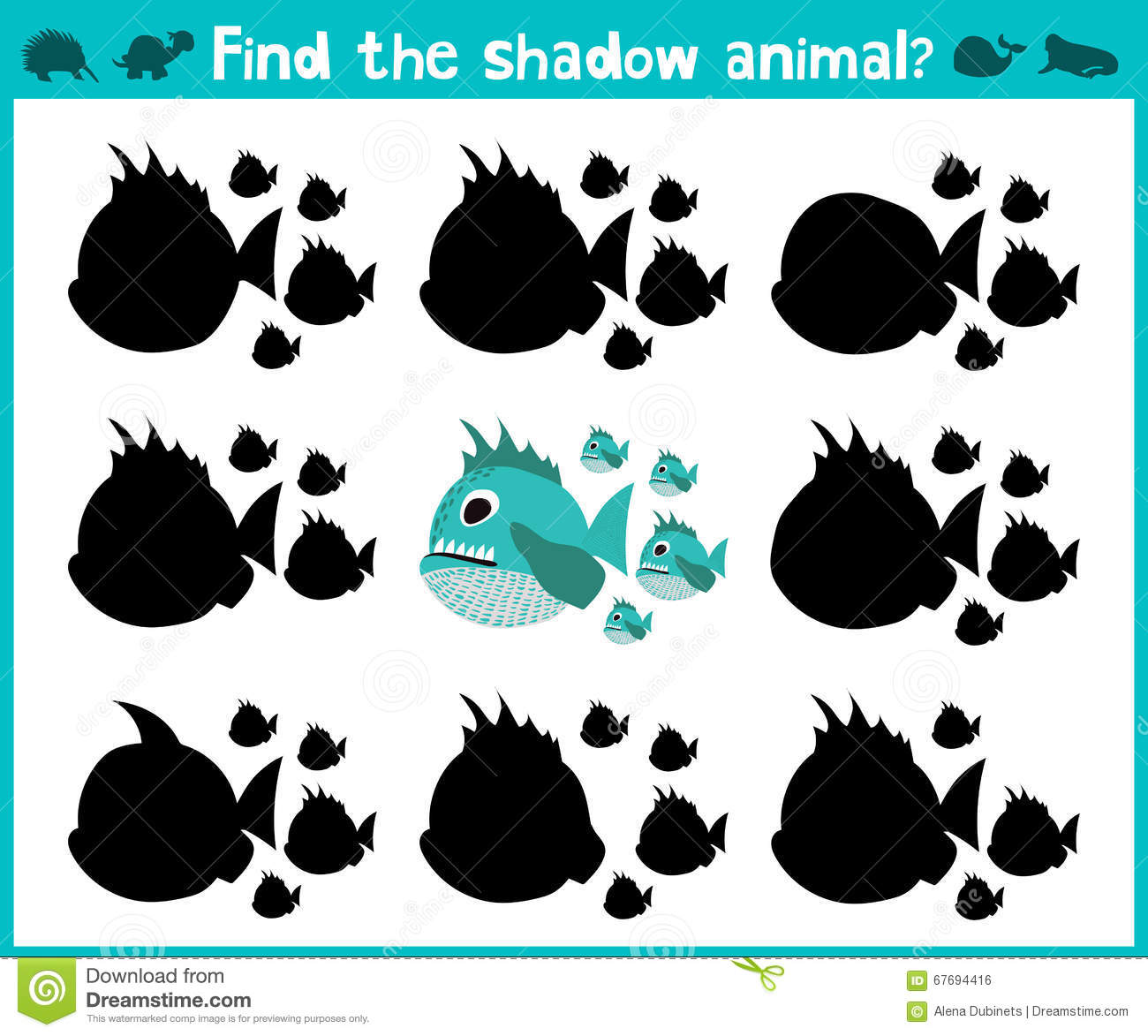 Educational children cartoon game for children of preschool age. Find the right shadow of a predatory fish of the Amazon river pir