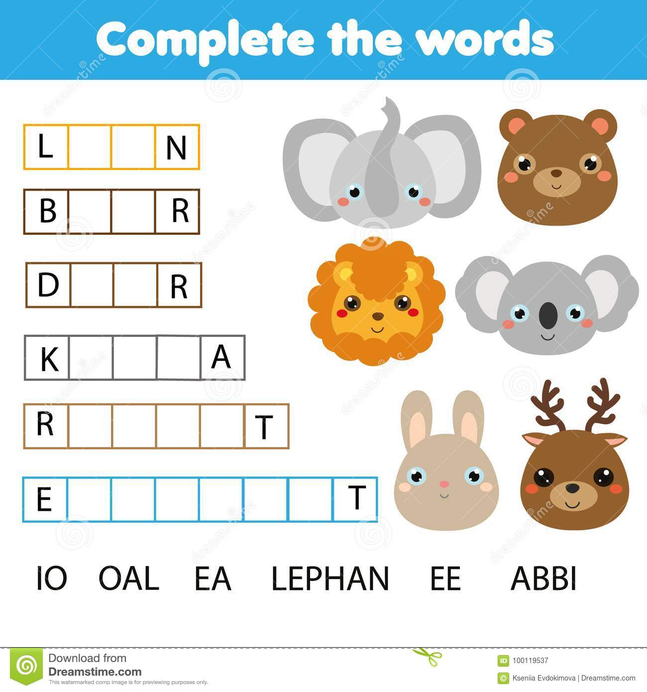 Educational Children Game  Complete The Words Kids Activity