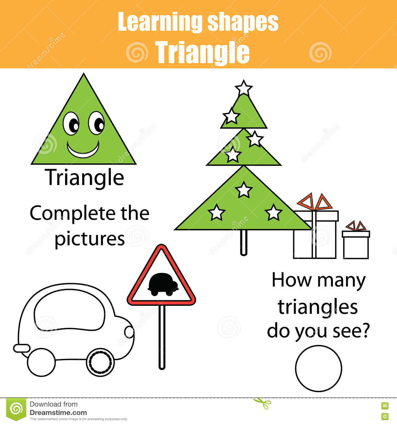 Educational Children Game, Kids Activity. Learning Shapes, Triangle ...