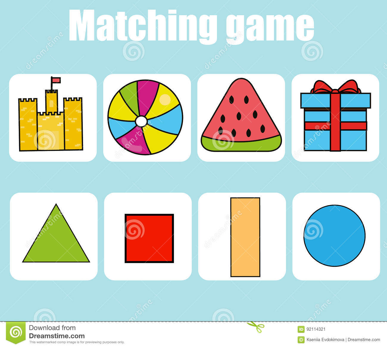 Educational Children Game Match Shapes Kids Activity Stock ...