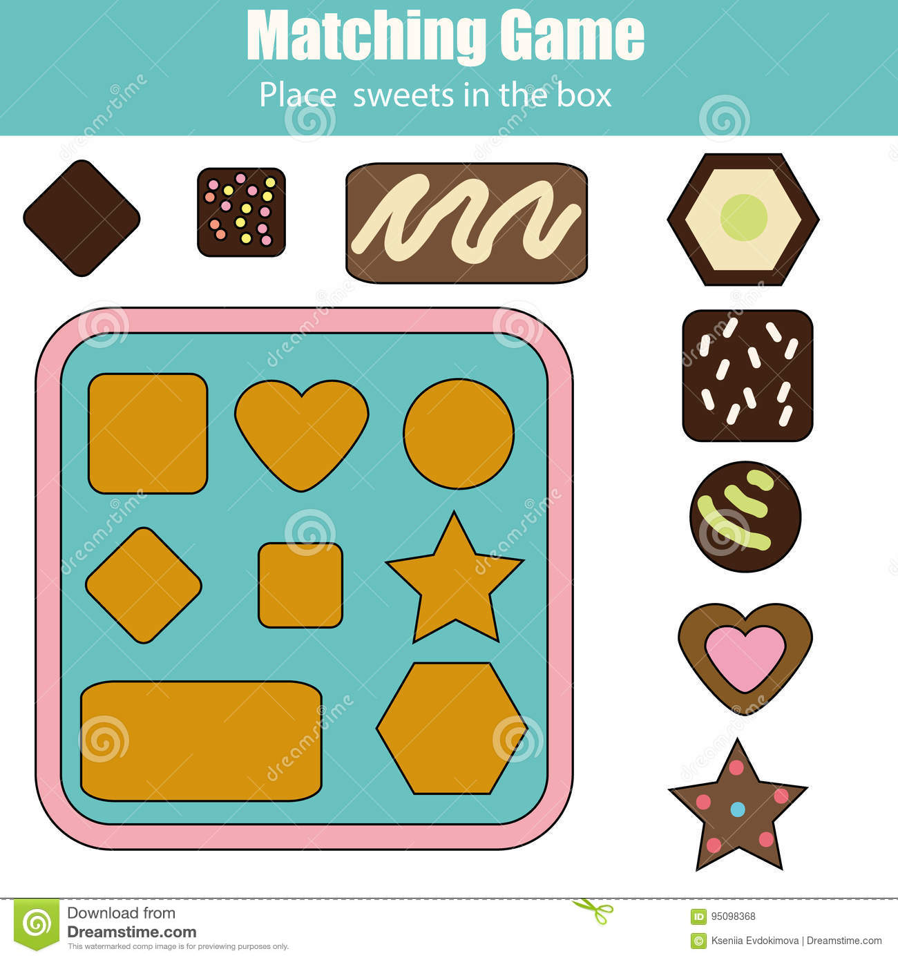 Educational Children Game. Match By Shapes Kids Activity Stock ...