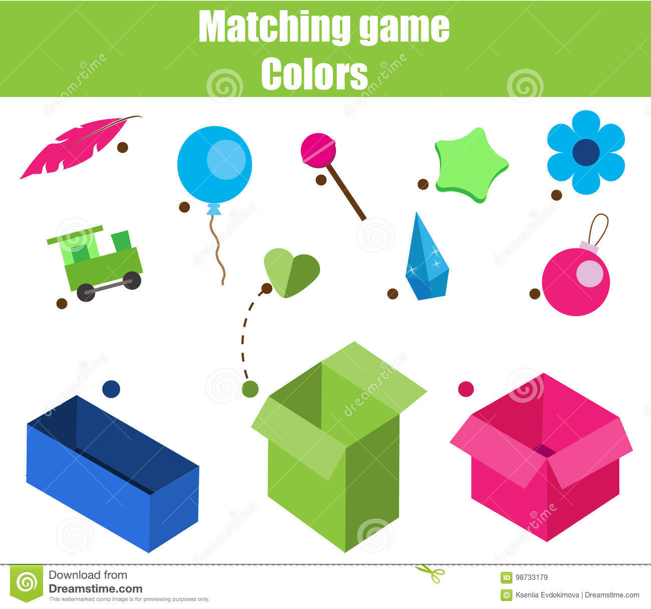 Educational Children Game. Matching Game Worksheet For Kids. Match ...