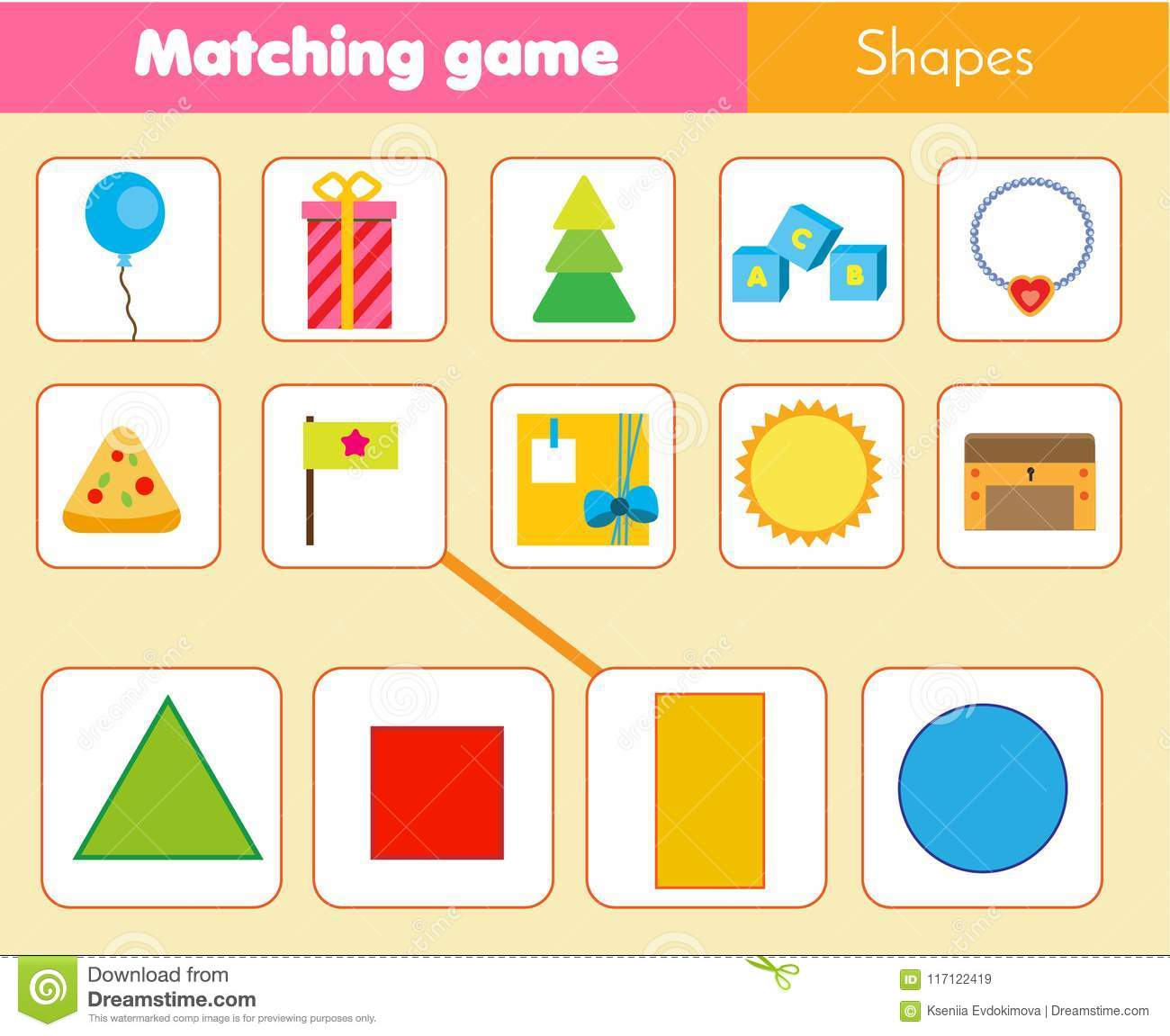 Educational Children Game Matching Game Worksheet For Kids Match