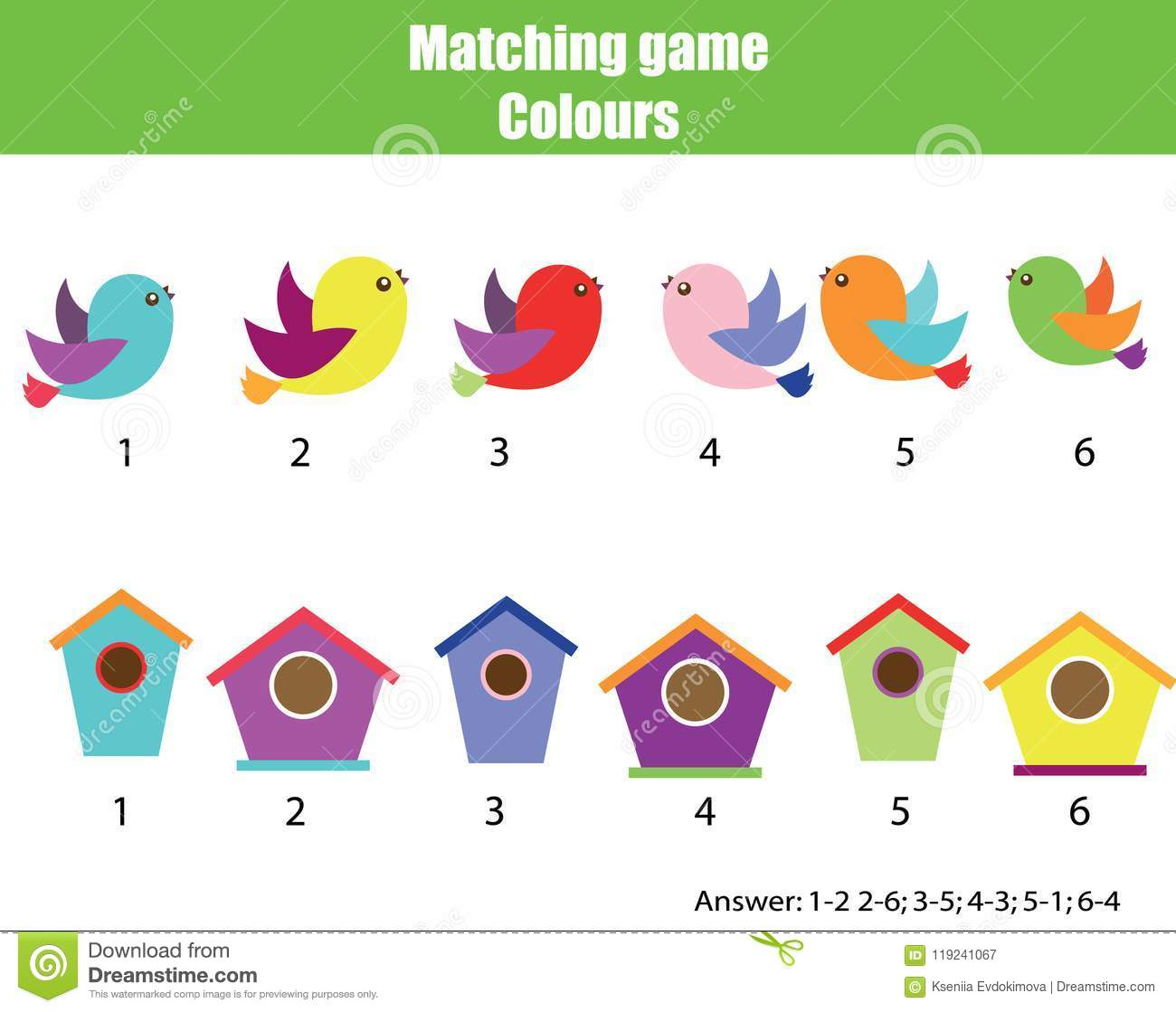 educational children game match by color find pairs of birds and birdhouse stock vector. Black Bedroom Furniture Sets. Home Design Ideas