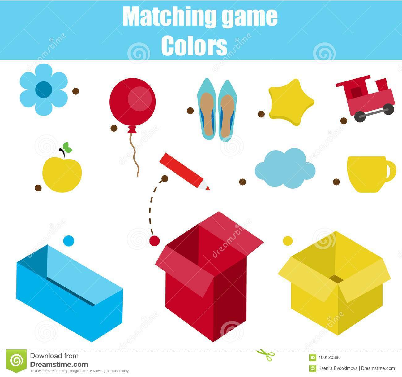 Educational Children Game Matching Game Worksheet For Kids Match By Color Sorting Objects For Toddlers Stock Vector Illustration Of Teacher Pupil 100120380
