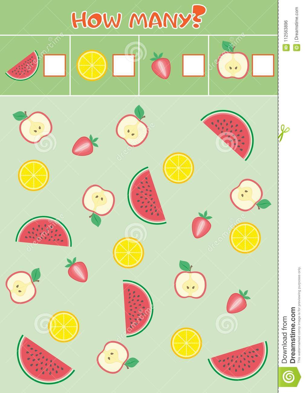 Educational Counting Game For Preschool Children With A Variety Of Fruits Stock Vector Illustration Of Learning Kids 112563896