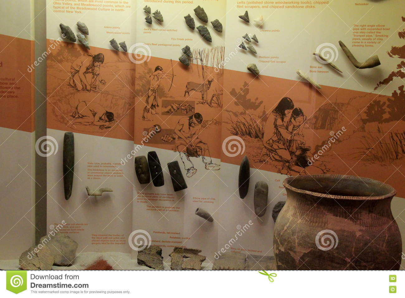 Educational Exhibit Of Various Arrowheads Found In The Region,State