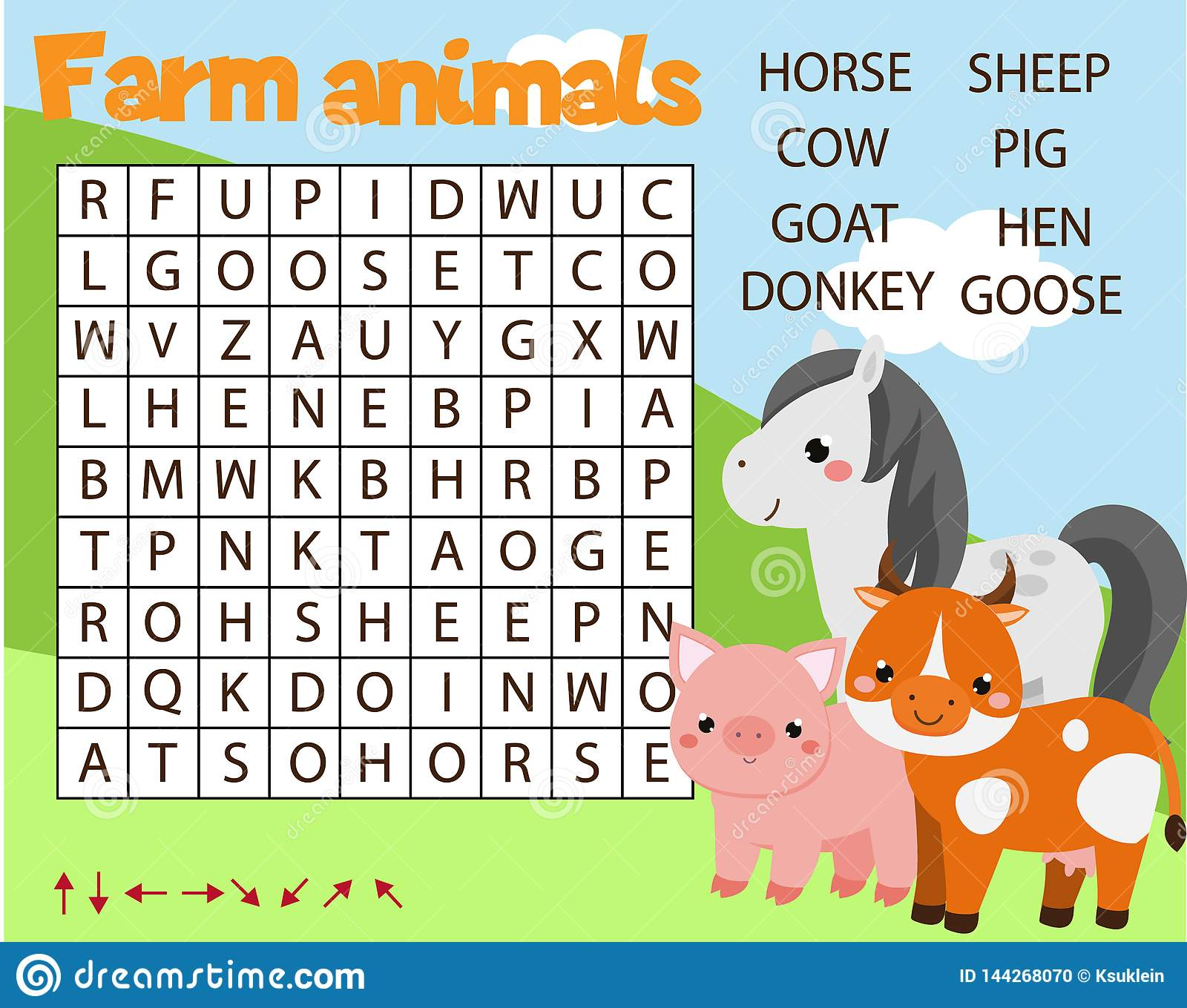 Educational Game For Children Word Search Puzzle Kids Activity Farm Animals Theme Learning Vocabulary For Toddlers Stock Vector Illustration Of Activity Development 144268070