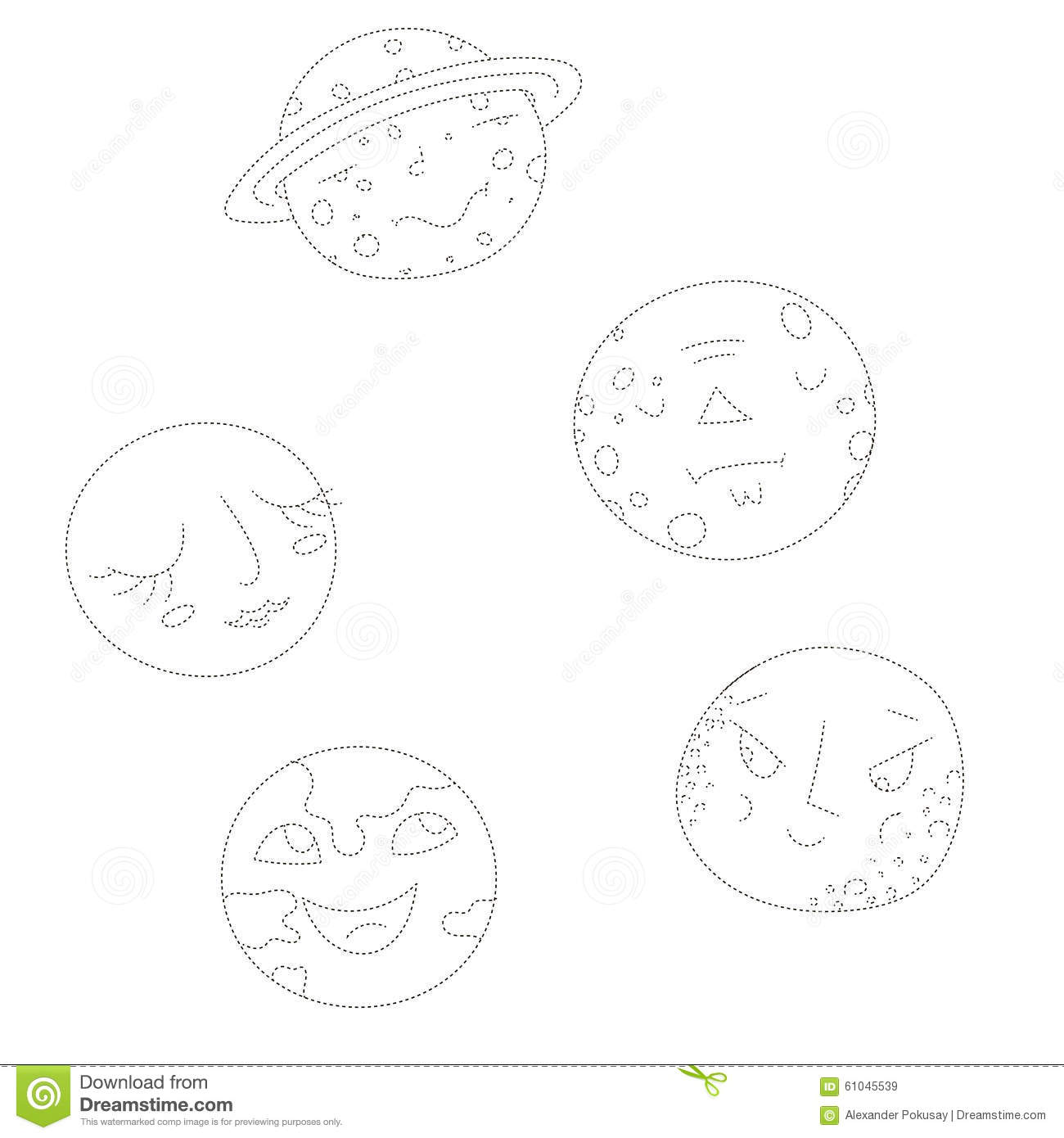 Educational Game Connect The Dots To Draw Planets Stock Vector