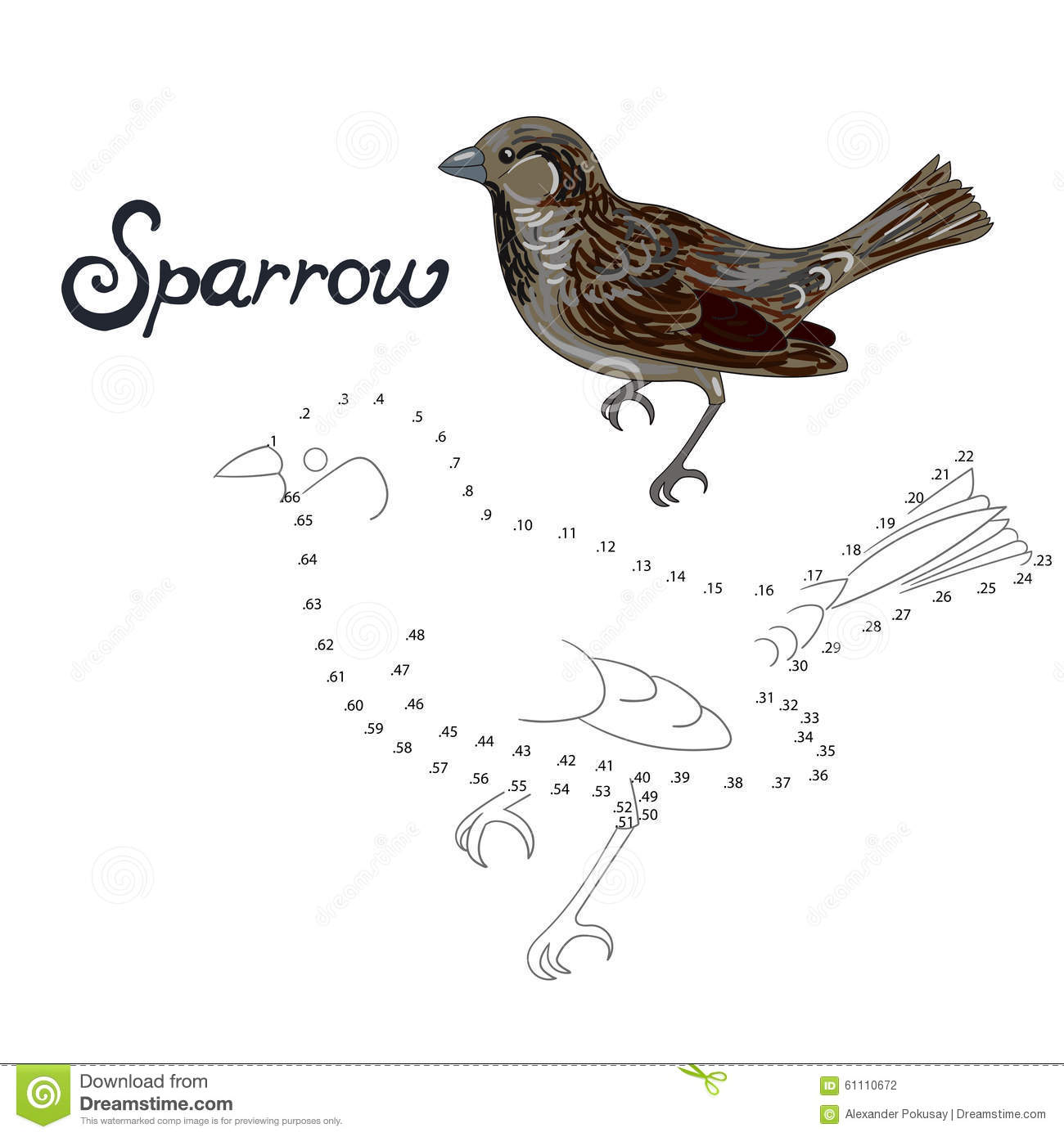 Educational Game Connect Dots To Draw Sparrow Bird Stock ...