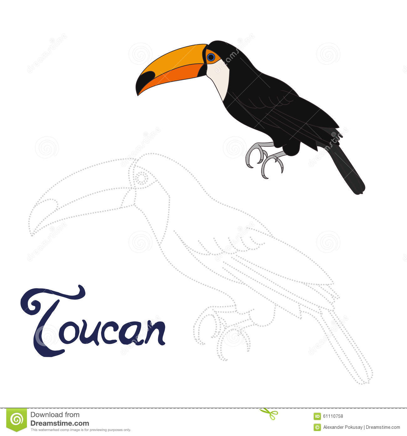 Educational Game Connect Dots To Draw Toucan Bird Stock