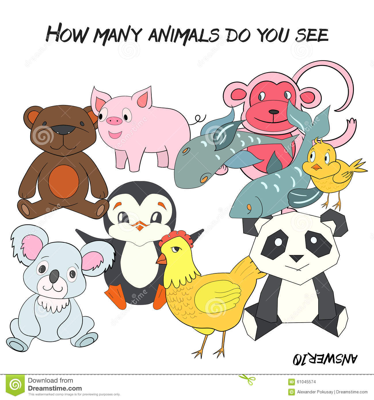 Educational Game How Many Animals Do You See Stock Vector