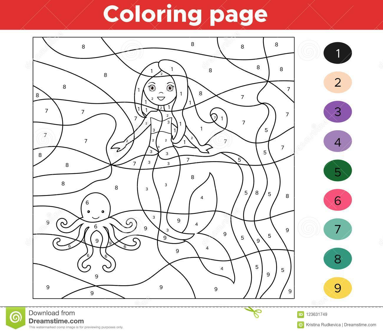 Educational Game For Kids. Color By Numbers. Stock Vector ...