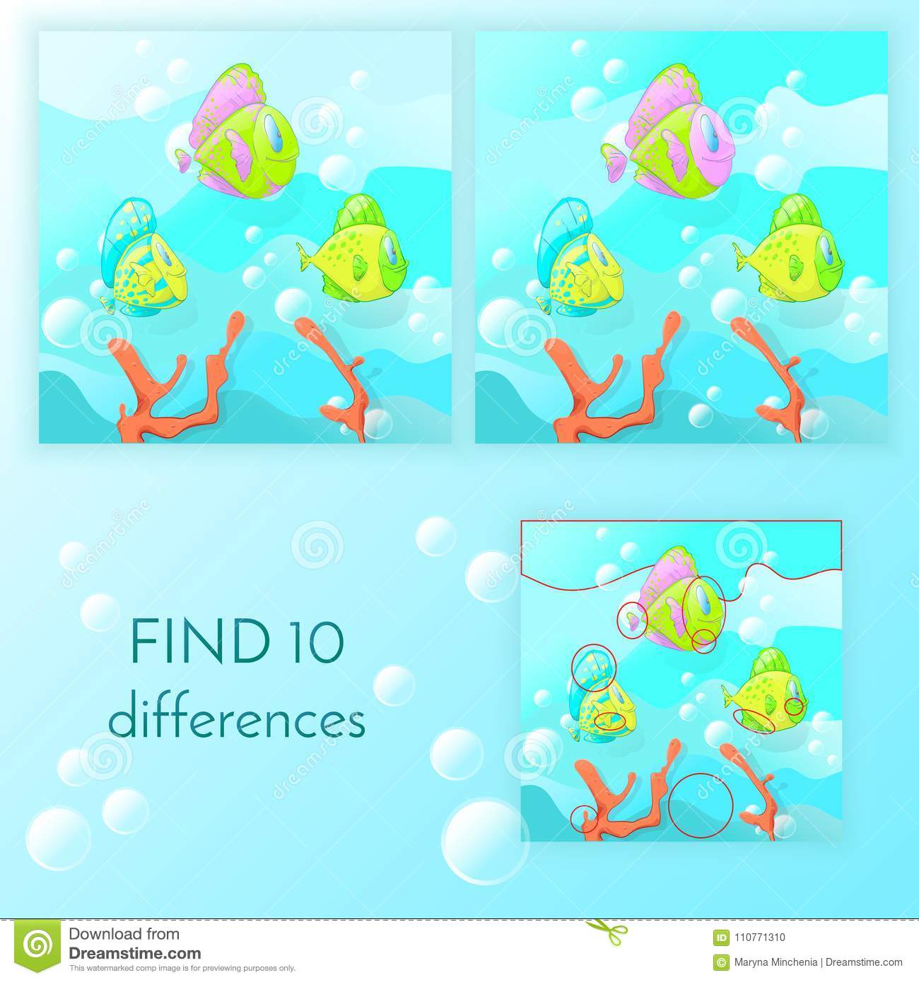 Educational Game For Kids Find 10 Differences Stock Vector
