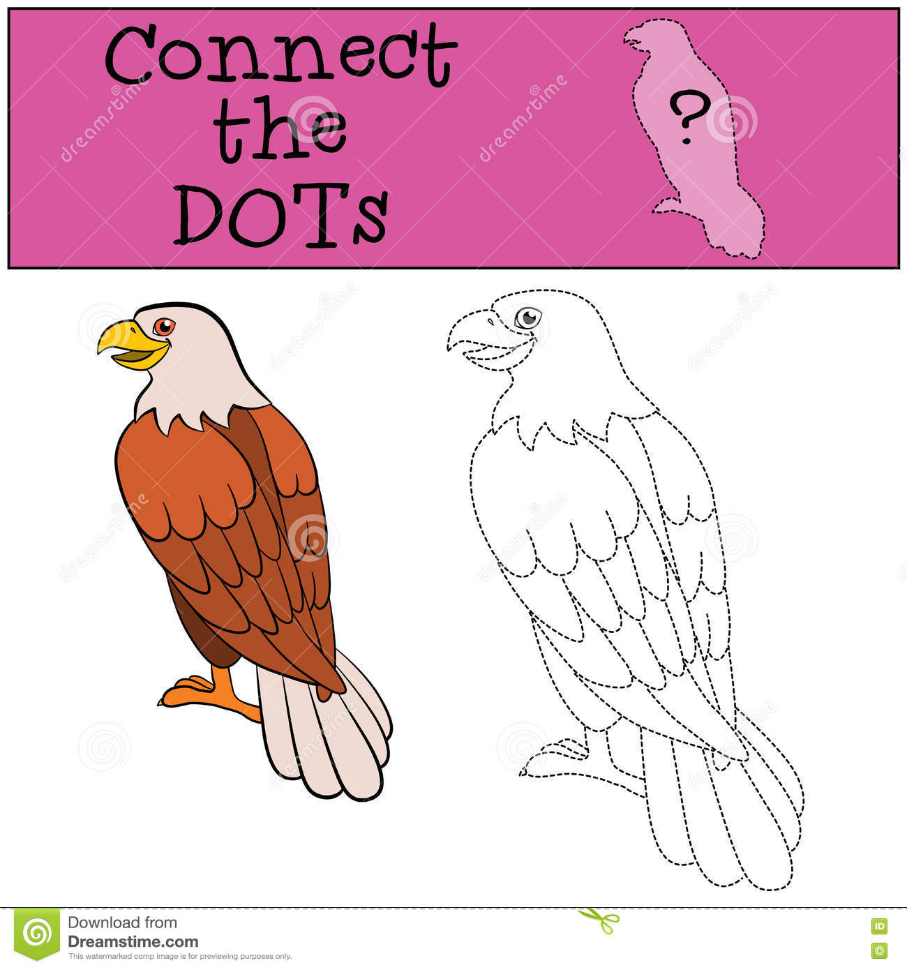 educational games for kids connect the dots cute bald eagle