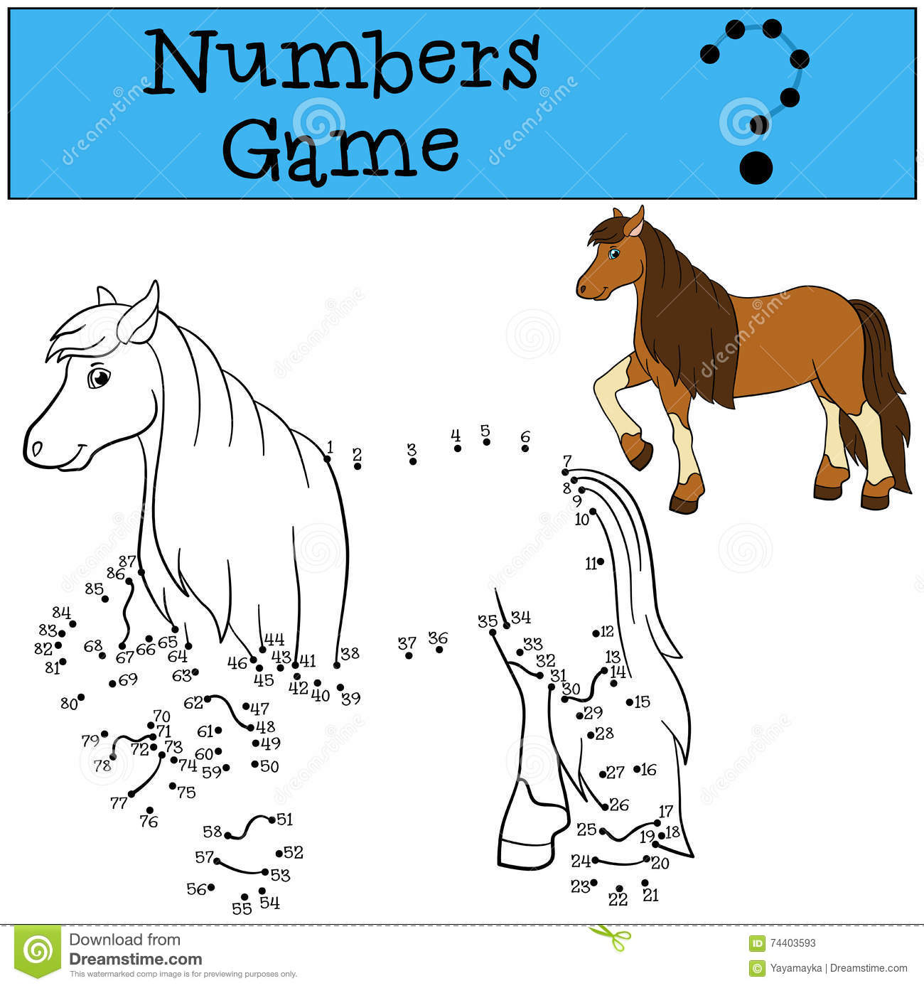 Educational Games: Numbers Game. Cute Horse. Stock Vector ...