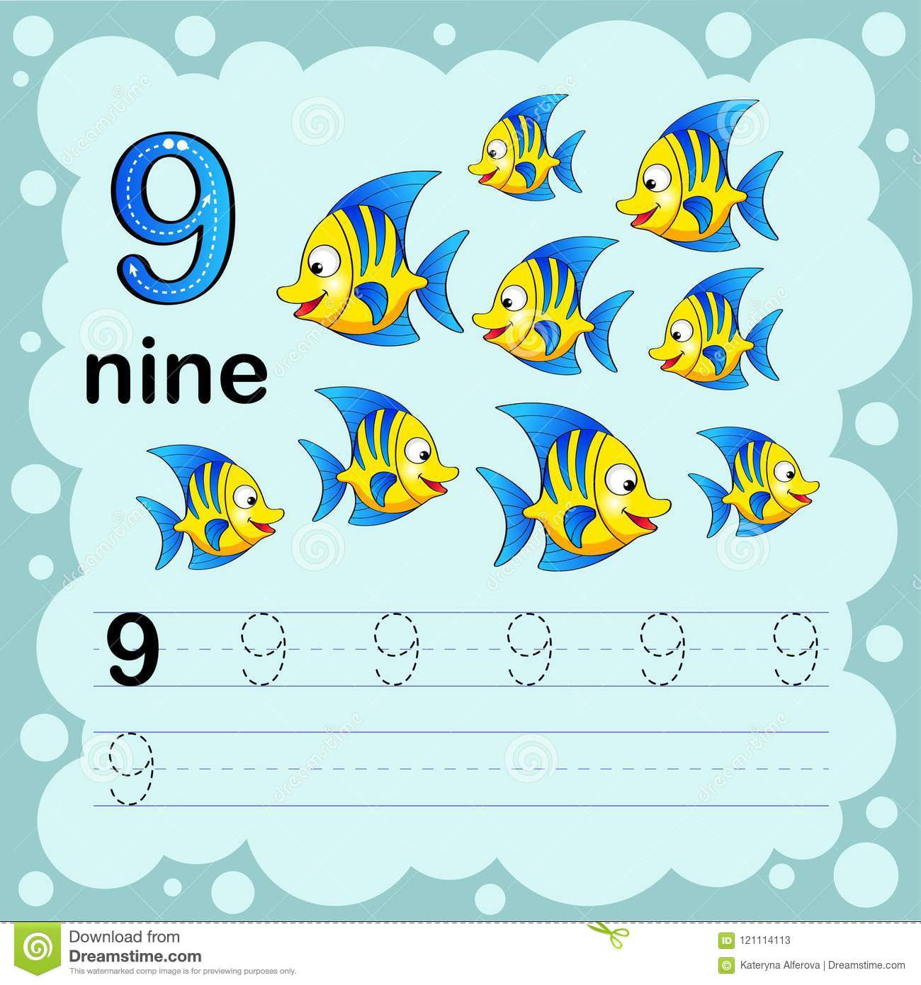Educational Illustration To Learn How To Count And Write A Number