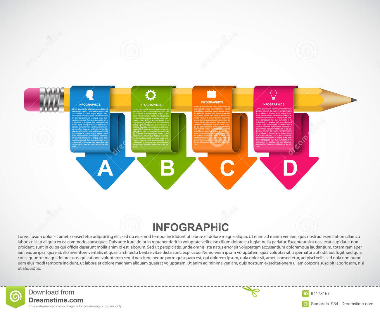 educational infographics template with colored arrows stock vector